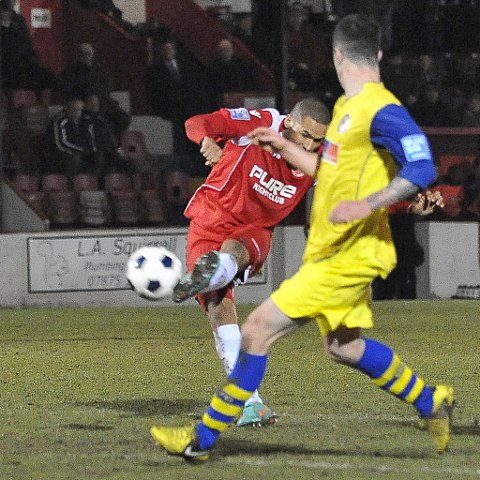 News Shopper: Ross Lafayette secures three points with a 20-yard curler off the inside of the post