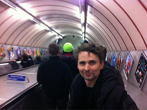 Muse singer Matt Bellamy takes the escalator