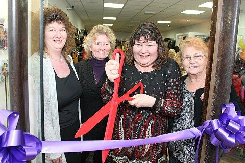 Store mamager Sue Lee with Maggie Leonard, Cheryl Fergison and Olive Botten.