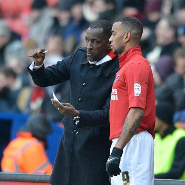 Chris Powell gives some final instructions to substitute Danny Haynes on Saturday. PICTURE BY KEITH GILLARD.