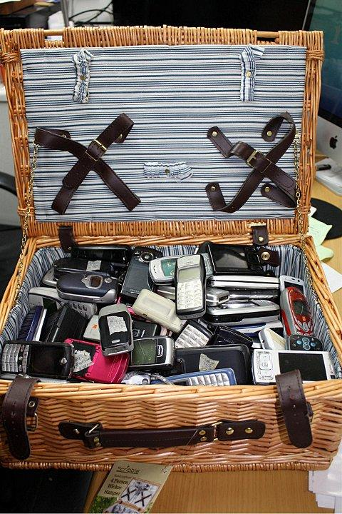 Police seized a picnic basket full of mobile phones at a shop in Penge High Street