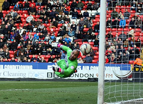 Lee Grant tips Haynes' header around the post