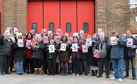 Pritestors at Downham fire station