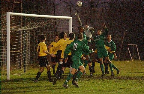 Thamesmead Town (green) in action at their Bayliss Avenue home ground