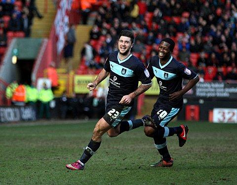 Burnley goal machine Charlie Austin celebrates his winner at The Valley. PICTURE BY EDMUND BOYDEN.