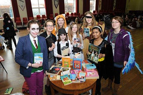 The pupils taking advantage of a book swap.