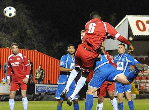 A powerful header from Anthony Acheampong opens the scoring. PICTURES BY DAVE BUDDEN