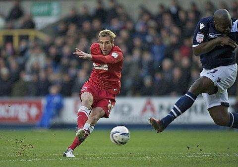 Rob Hulse has a shot for Charlton against Millwall at The Den in December. PICTURE BY ALAN STANFORD.