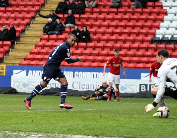 Jermaine Easter fires Millwall in front with his first touch. PICTURES BY EDMUND BOYDEN.