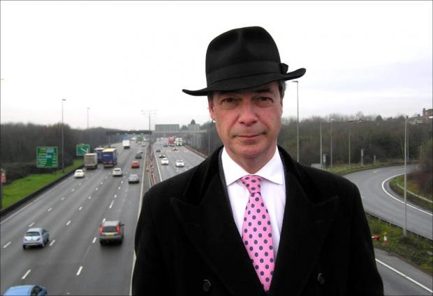 Nigel Farage at the Dartford Crossing this morning.