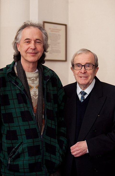 Composer Gordon Carr with historian Cliff Watkins before the Enid Blyton premiere