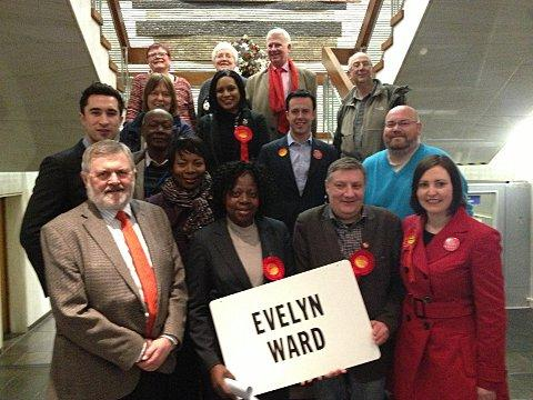 Olufunke Abidoye with fellow Labour councillors after her election last month