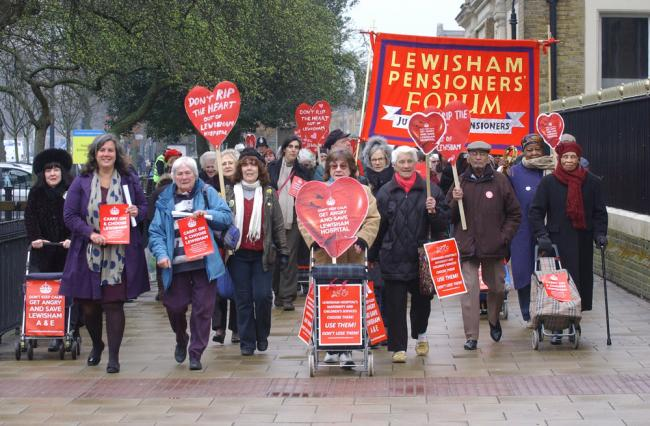Lewisham Pensioners Forum march to save Lewisham Hospital A&E and maternity