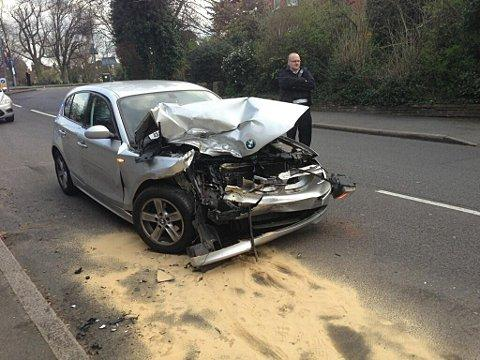 News Shopper: The silver BMW collided with a black BMW and a yellow Nissan.