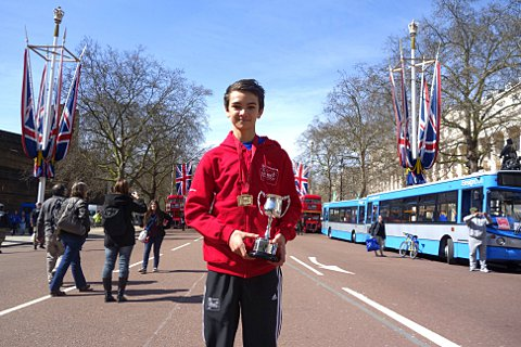 Brockley pupil Alex Yee with his trophy at last year's Virgin Money Giving Mini London Marathon