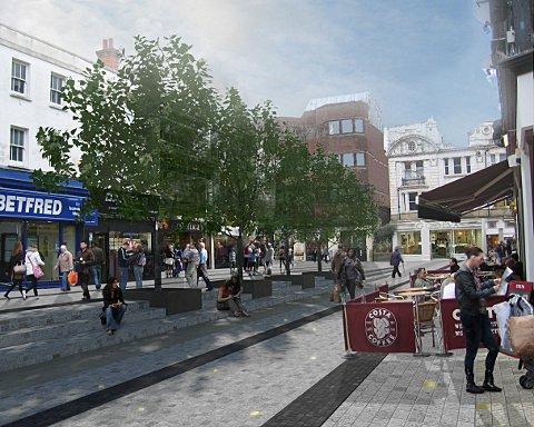 An artist's impression of what the area will look like after the works have been completed. Image courtesy of Studio Egret West