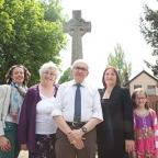 Penge war memorial campaigners Lucy Smith, Marian Young, historian Chris Doran, Cllr Kathy Bance and nine-year-old Lily Banks