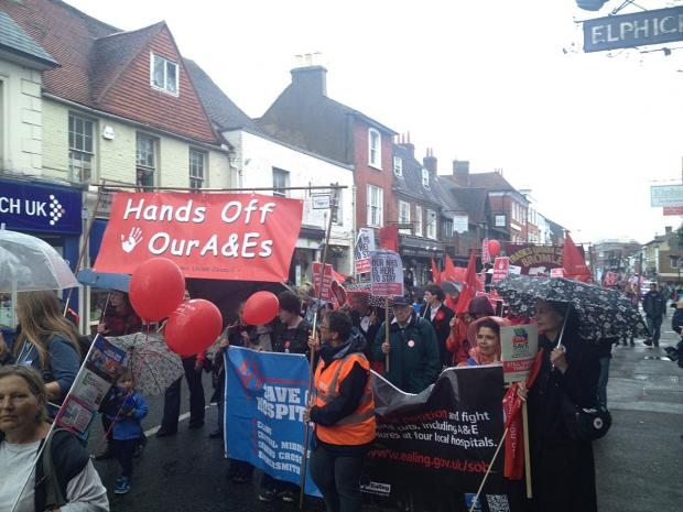 News Shopper: Lewisham Hospital campaigners take fight to Health Secretary's home town in Surrey
