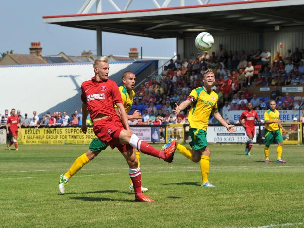 News Shopper: Joe Pigott scores for Charlton in last summer's encounter. Picture by Keith Gillard.