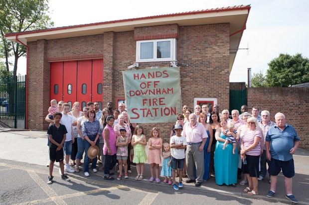 News Shopper: Protesters gather outside Downham Fire Station