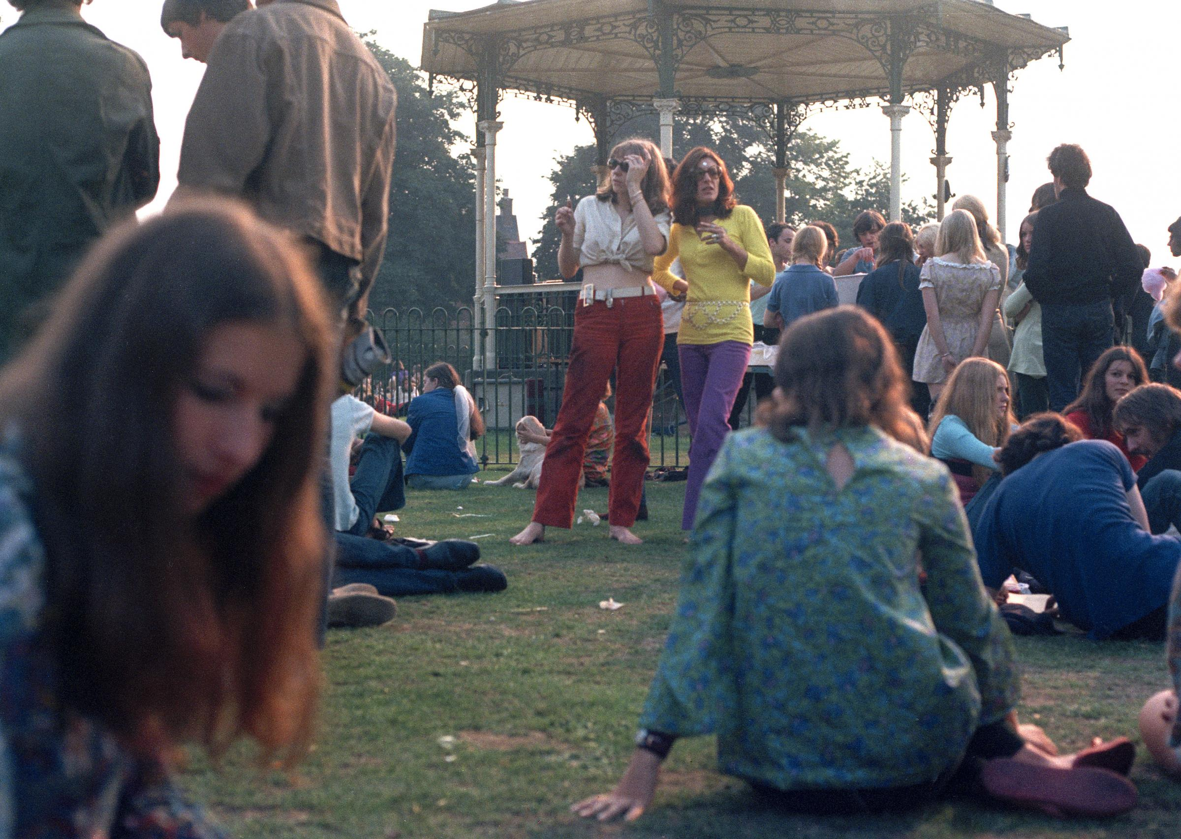Angie Bowie and Mary Finnigan at the Free Festival in 1969