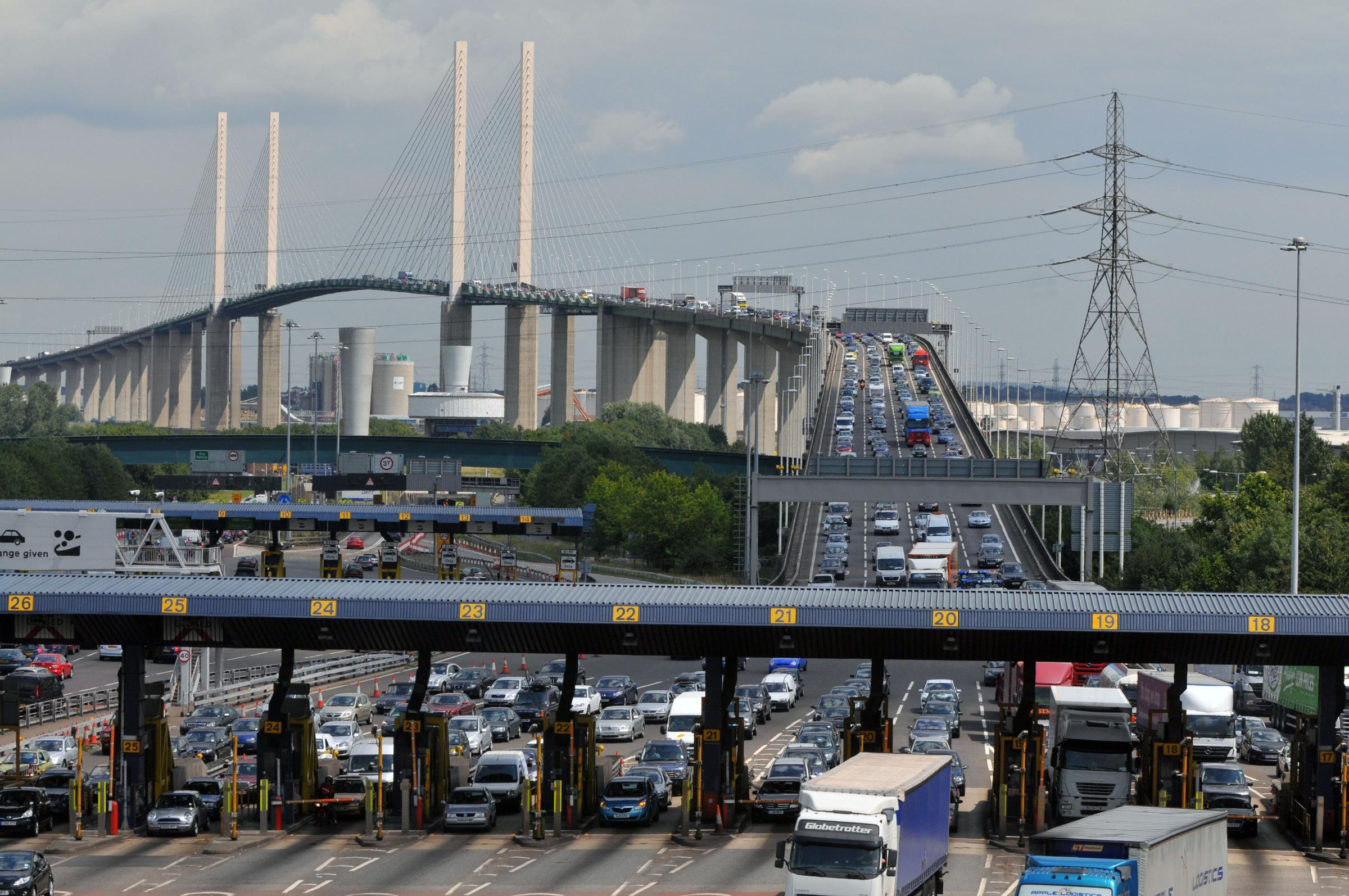 Kent Police has been checking dozens of lorries approaching the Dartford Crossing.