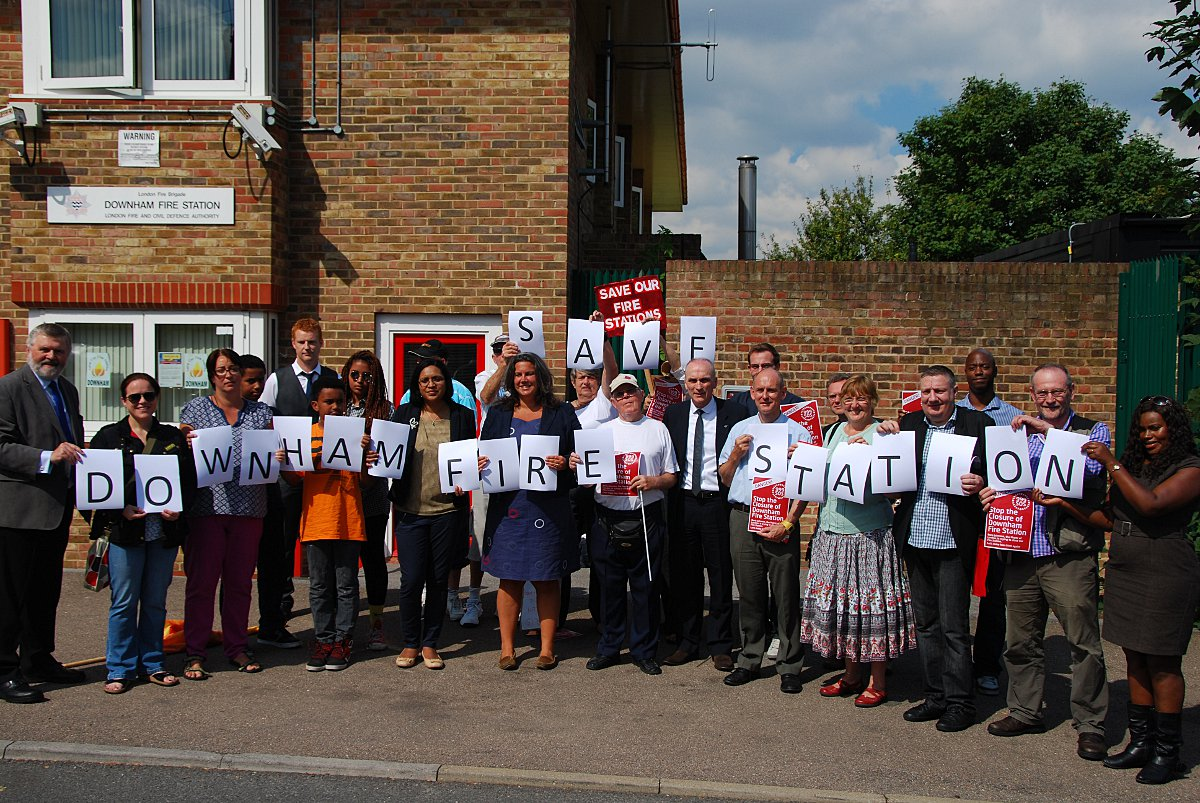 Campaigners outside Downham fire station