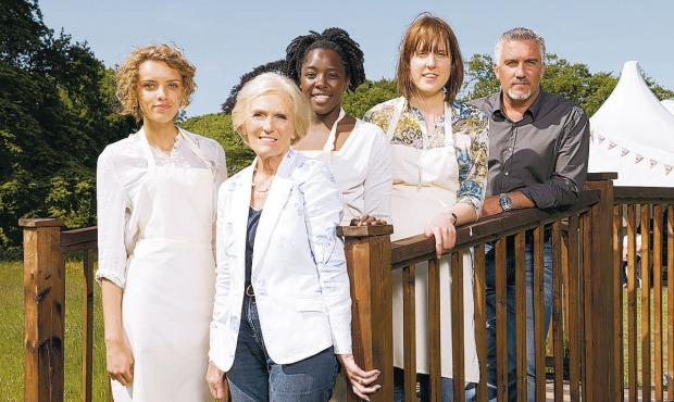 News Shopper: FINAL LINEUP: The Great British Bake Off finalists and presenters, from left, Ruby, Mary Berry, Kimberley, Frances and Paul Hollywood