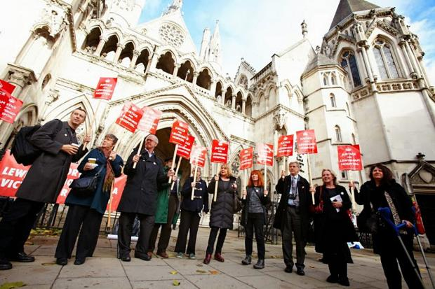 News Shopper: Campaigners outside the Royal Courts of Justice on October 28, picture courtesy of Simon Way