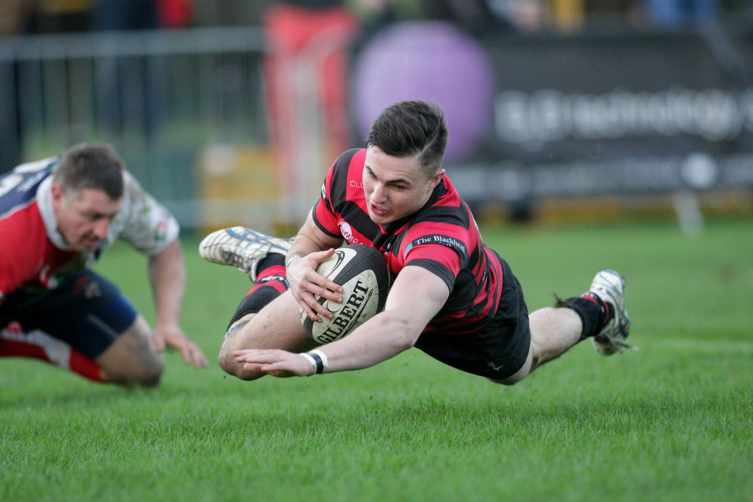 Ben Summers scoring in Blackheath colours earlier in the season.  Photo: Helen Watson