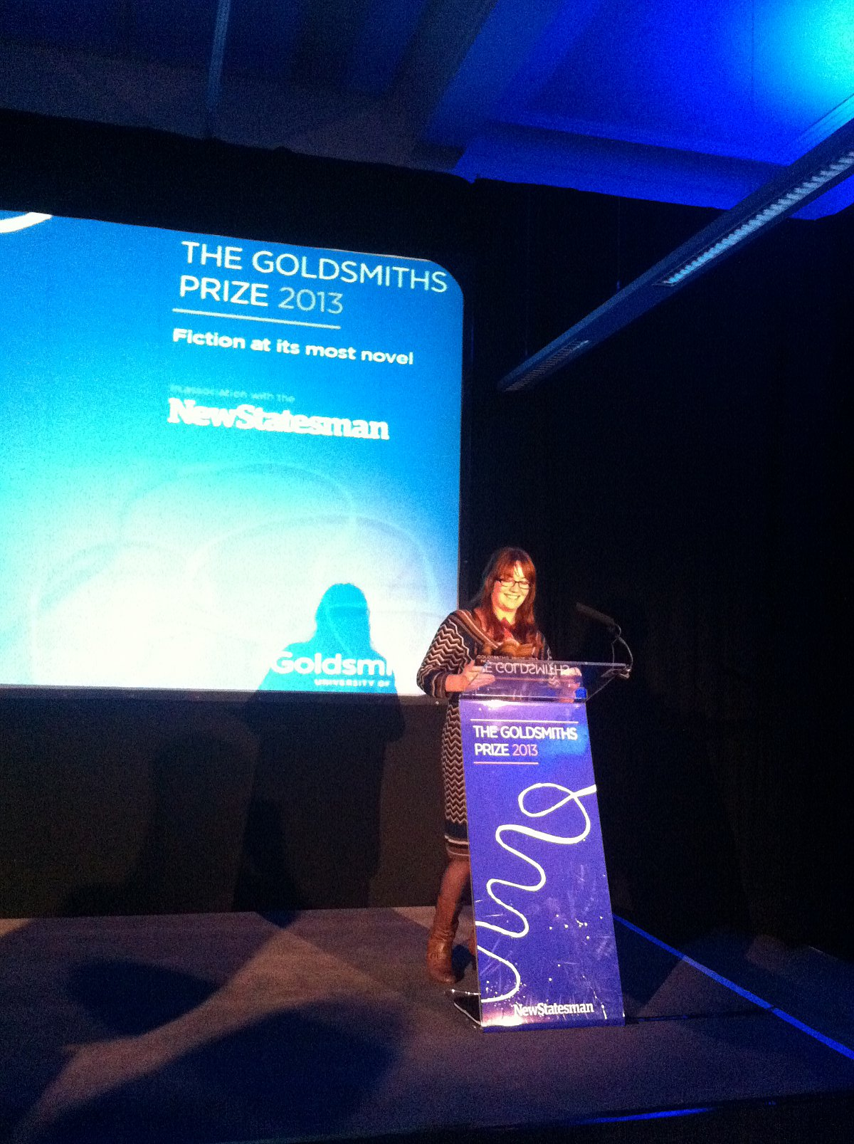 Eimear McBride, seen winning the Goldsmiths Prize last November, was also presented with the Baileys Prize last night