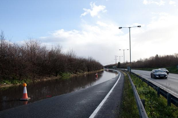 News Shopper: PICTURED: Flooding causes closure of A206 Bob Dunn Way in Dartford