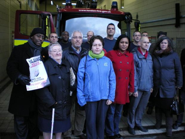 News Shopper: Vigil held at Downham fire station closed