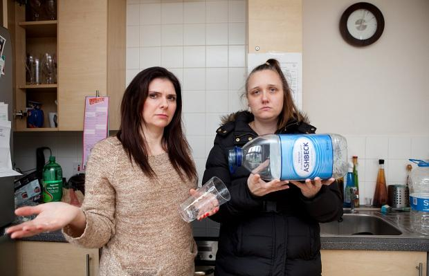 News Shopper: Thamesmead mum hits out at housing association for not fixing water supply; pictured Rebecca Howitt, left, and Vicky Pownall