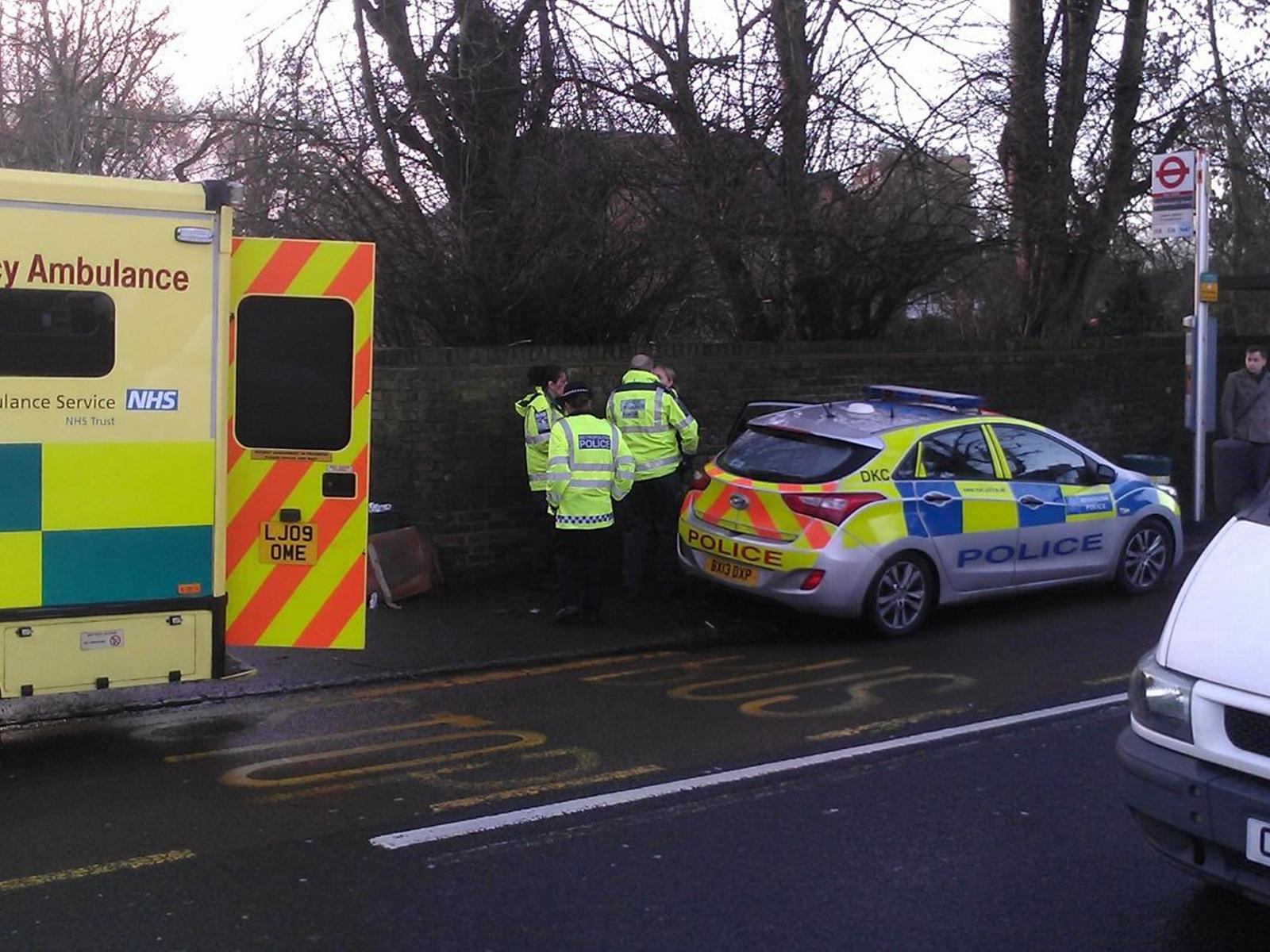 Police and ambulance near Chequers pub in Bickley