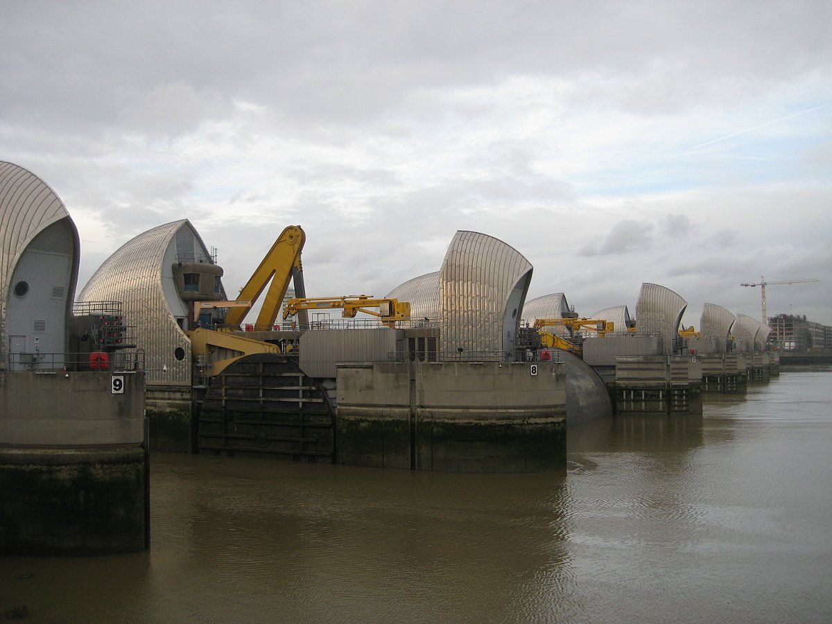Thames Barrier closes to prevent flooding