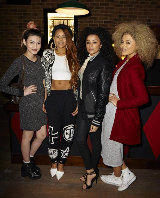News Shopper: Neon Jungle were at the launch of Brooklyn Bowl in Greenwich last month. From left: Asami, Amira, Shereen and Jess