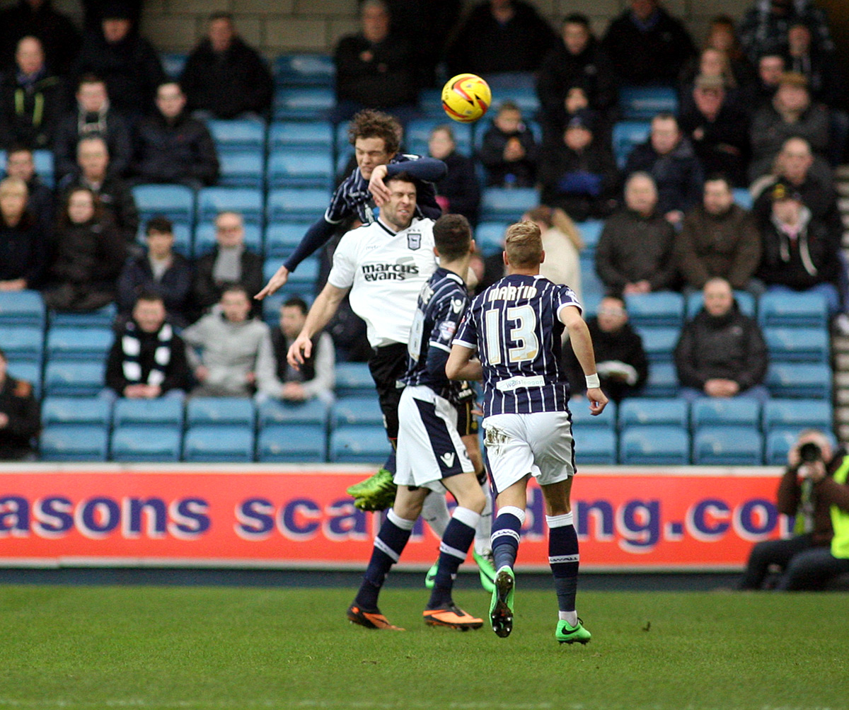 Shane Lowry wins a header in Saturday's victory over Ipswich. PICTURE BY EDMUND BOYDEN.