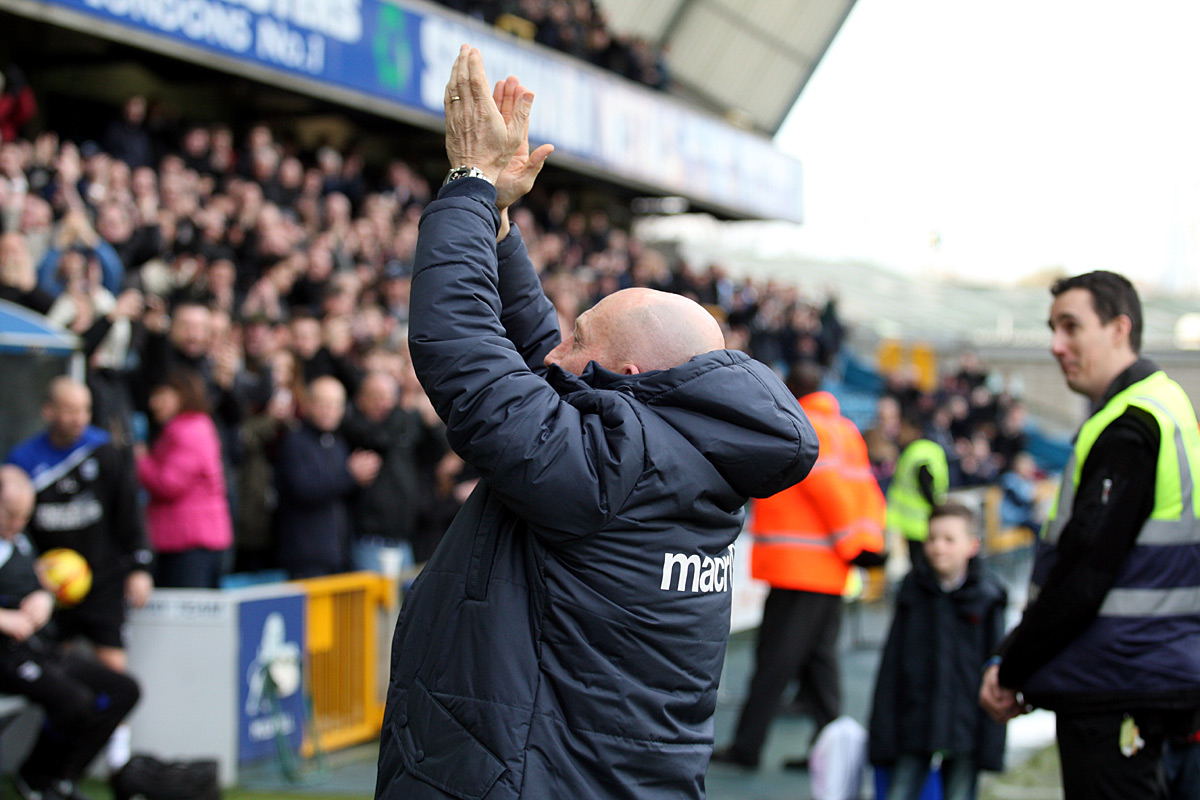 Manager Ian Holloway applauds the Millwall fans before Saturday's game against Ipswich. PICTURE BY EDMUND BOYDEN.