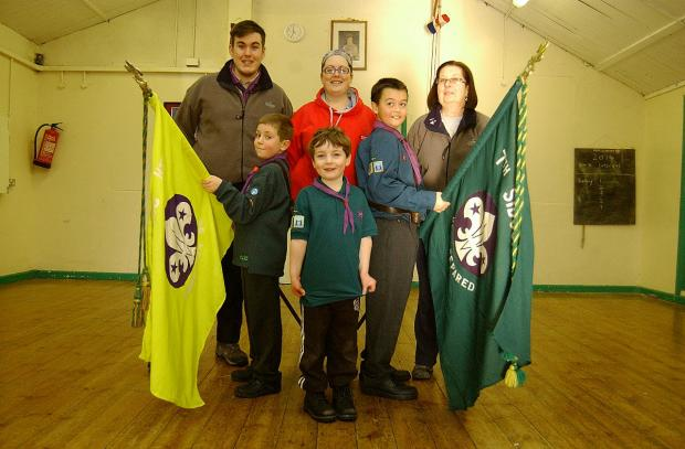 Back row (left to right): volunteers Will Richards, Hannah Rees and Elizabeth Rees. Front row (left to right): Tommy Ridgwell, 8, Harvey Rees, 5, and Callum Oliver, 12.
