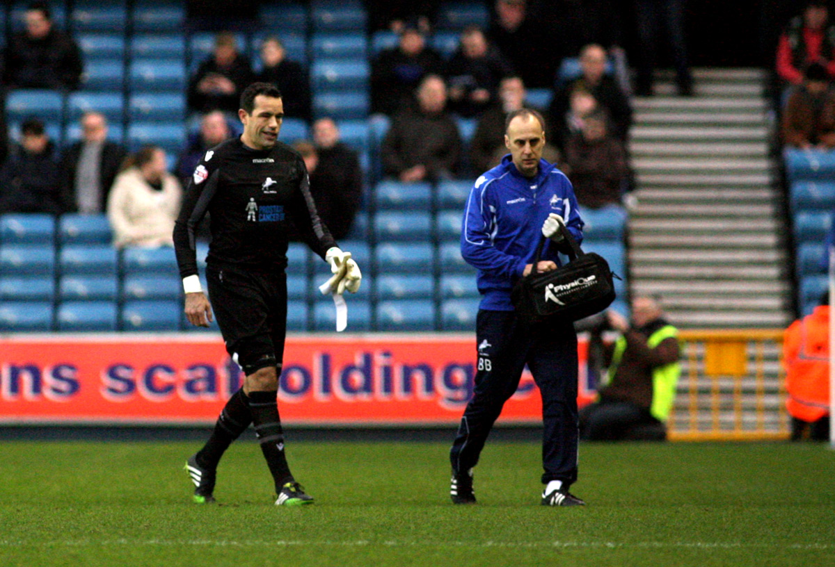 News Shopper: David Forde leaves the pitch injured