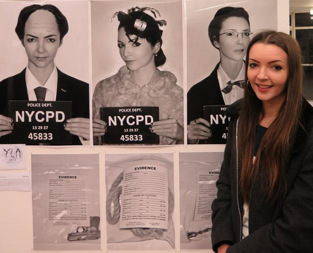 News Shopper: Victoria North (17) - Sydenham: Created mugshots of Cleudo characters, self-portraits of herself as the model for each of the characters.