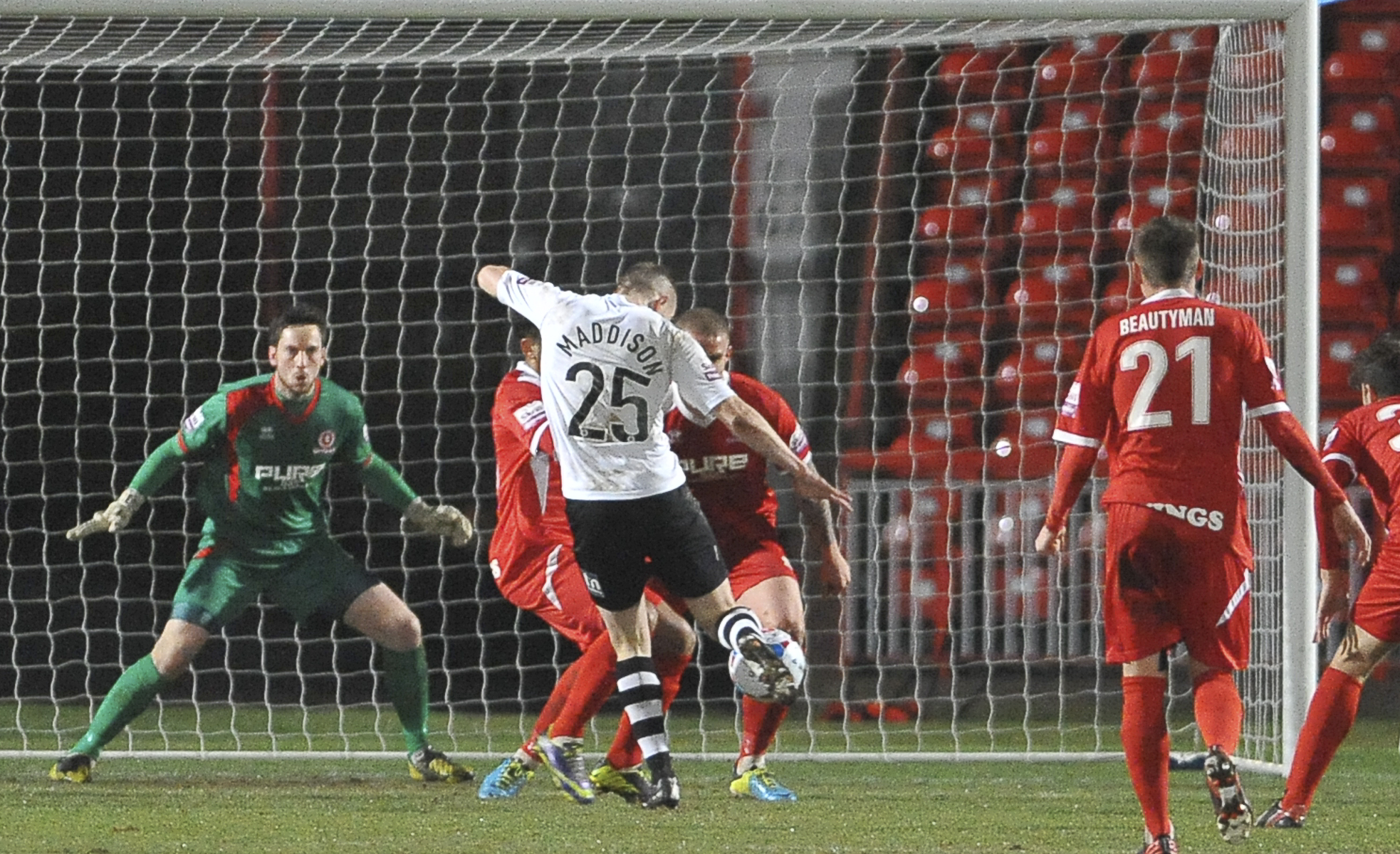 News Shopper: Gateshead's Marcus Maddison has a shot