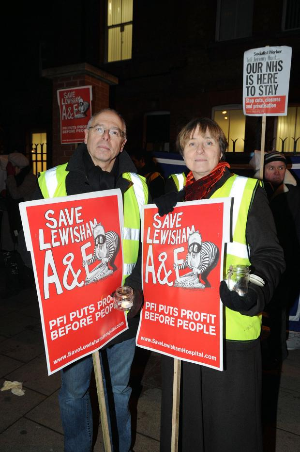 News Shopper: Dr Louise Irvine pictured with Dr Brian Fisher at a Save Lewisham Hospital protest