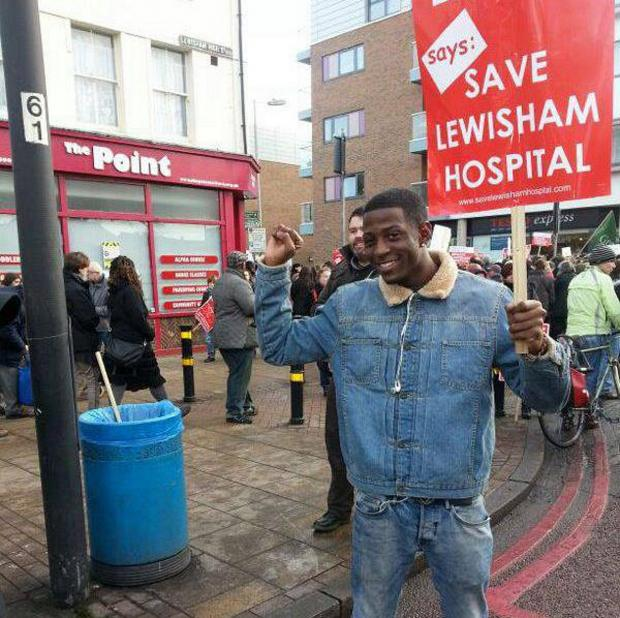 News Shopper: Myles Litchmore Dunbar protesting as part of the Save Lewisham Hospital campaign prior to his arrest