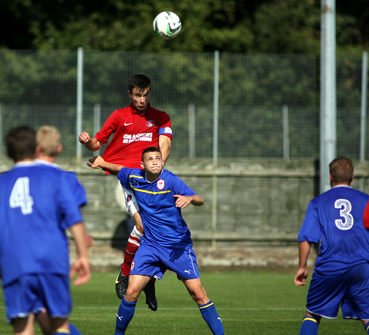 Harry Lennon wins a header playing for the U18s last season at Sparrows Lane. PICTURE BY EDMUND BOYDEN.