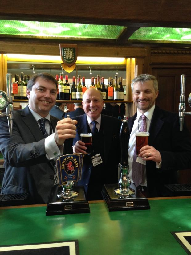 News Shopper: Gareth Johnson MP celebrated the launch of Kentish Best with John and Darren Millis in the House of Parliament's Strangers Bar.