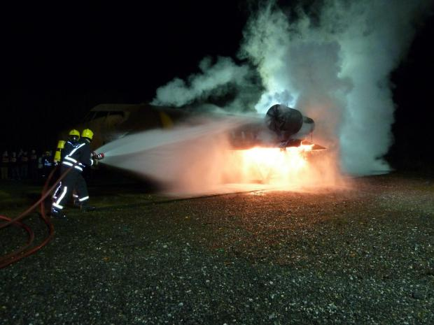 Firefighters extinguish flames at Biggin Hill Airport
