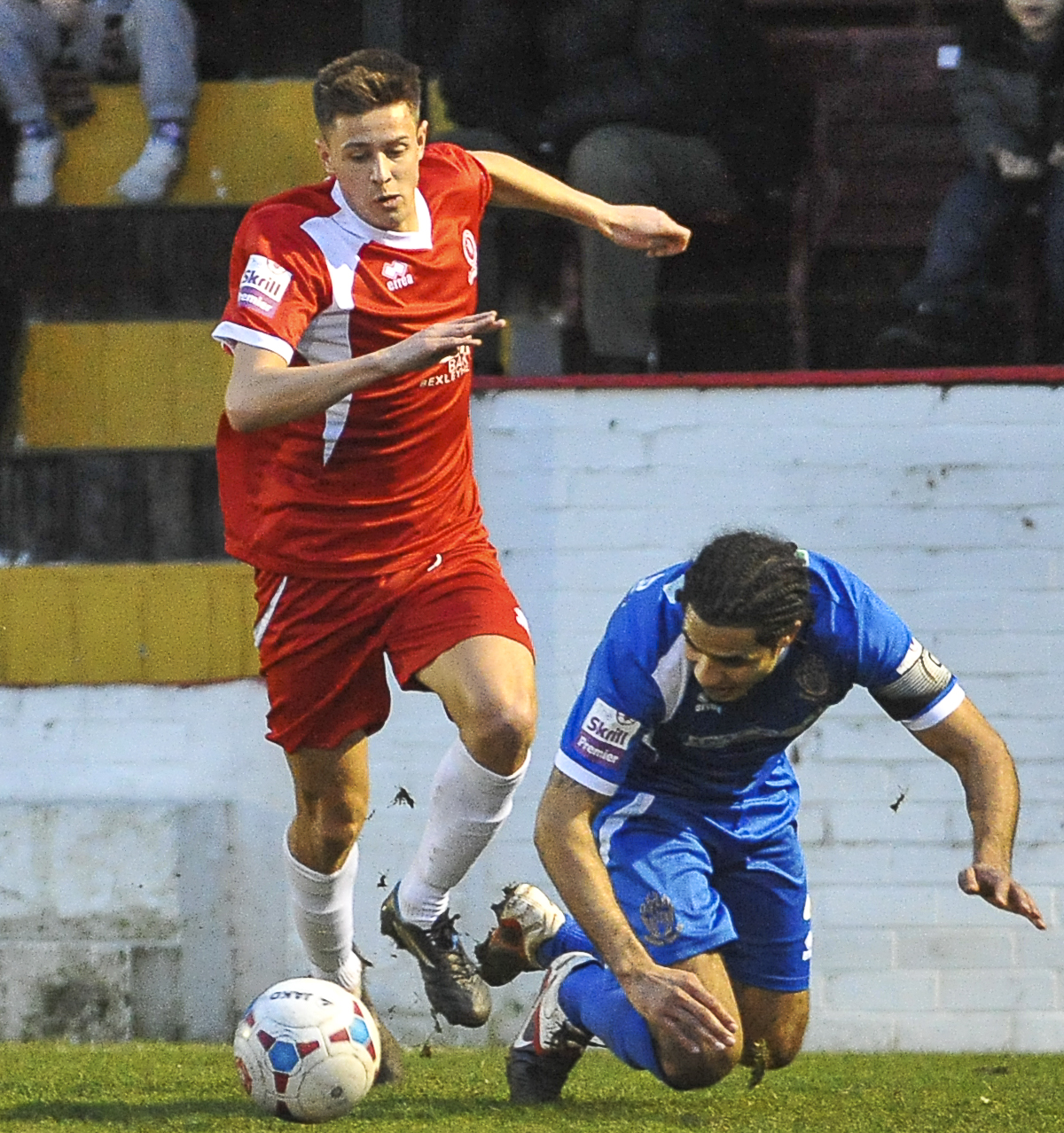 News Shopper: Harry Cornick beats Alfreton Town captain Chris Westwood