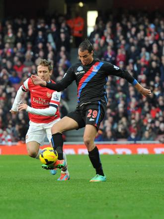 The Crystal Palace star in action at the Emirates earlier this season. Picture by Keith Gillard.